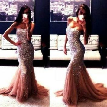 Sequin Long Mermaid Prom Dresses Sexy Pink Strapless Evening Party Dresses Gowns