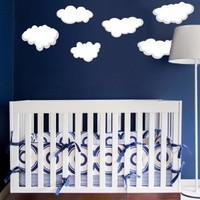 Full Color Wall Decal Cloud Sky Baby Room Nursery Clouds Moon Stars Vinyl Stickers Playroom Kids Children Bedroom Home Decor Mcol43