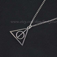 Harry potter deathly hallows necklace-antique silver necklace-women necklace men chain necklace-fashion cute jewelry friendship gift Q680