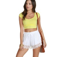Promo-yellow Cap Sleeve Fitted Crop Tee