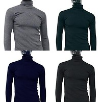 Men Fashion Thermal Turtle Neck Sweater Slim Fit Long Sleeve Stretch Shirt Top