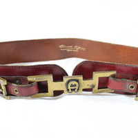 "~~~ BE BOLD ~~~ VINTAGE ENTIENNE AIGNER BURGUNDY ""DOUBLE BUCKLE"" BELT ~~~ S/M"