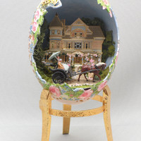 Southern Plantation Scene w Horse and Carriage, Faberge Style Decorated Egg