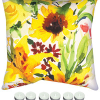 """Manual Woodworkers SLLNDY Lindsey Sunflower 18"""" x 18"""" Climaweave Outdoor / Indoor Pillow with 6-Pack of Tea Candles"""