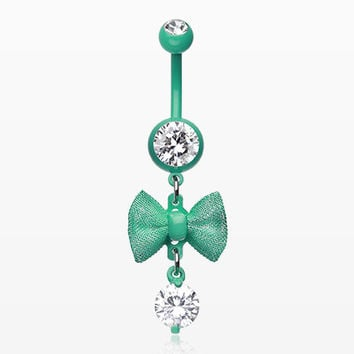 zzz-Mint Dainty Bow-Tie Belly Button Ring