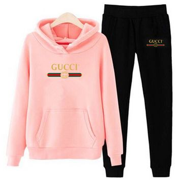 GUCCI Women Men  Casual Letter Pattern Print Long Sleeve Trousers Set Two-Piece