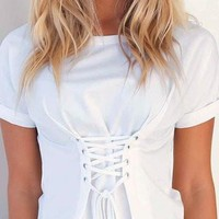 White Round Neck Lace Up Short Sleeve Top