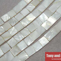 """15"""" Strand Free Shipping 12x12x3mm Natural Mother of Pearl Shell Square Loose Beads Approx 39CM Per Strand No.SB4"""