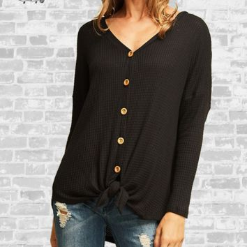 Tie Front Waffle Knit Top - Black - Large or 1X only