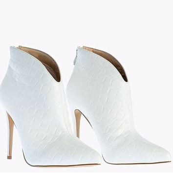 Hot style sexy super high heel pointed ankle boots shoes