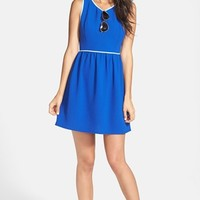 Soprano Piped Fit & Flare Dress (Juniors)