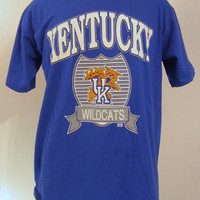 Vintage Awesome 80s KENTUCKY WILDCATS GRAPHIC College Basketball Large Athletic Cotton Blue T-Shirt