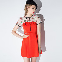 Orange Sheer Mesh Cherry Embroidered Spliced Swing Dress