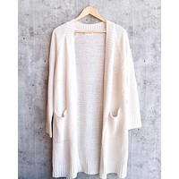 Dreamers - Longline Open Front Cardigan in Cream
