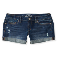 Aeropostale  Dark Wash Destroyed Denim Midi Shorts