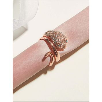 1pc Rhinestone Engraved Serpentine Ring