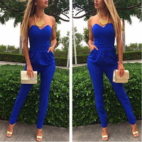 Women Fashion Strapless Jumpsuit Sexy Rompers Overalls Office Pants Plus Size = 1901209220