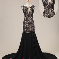 Mermaid prom dress- Long backless black lace prom dress/ evening party dress/ wedding dress