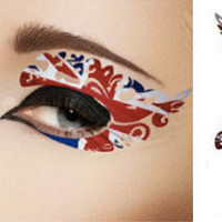 1 Pair of Temporary Tattoo Makeuo for Eyes Eyelids Union Jack UK Flag Spring Summer for Clubbing Party Prom