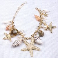 New Hot Chunky Sea Shell Starfish Faux Pearl Gold Statement Necklace / Bracelet Jewelry Set(WP-F257)