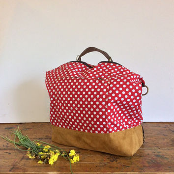 Red and white polka dots huge canvas day backpack, extra large red cotton convertible backpack for hip women with many packs for a day trip