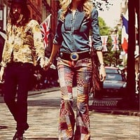 Free People Patchwork Corduroy Flare