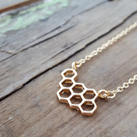 Gold Beehive Honeycomb Necklace | Dainty Jewelry | Natural Jewelry | Stacked Hexagon Necklace | Beehive | Gold Geometric Everyday Jewelry