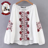 New fashion embroidery floral leaf long sleeve top women White