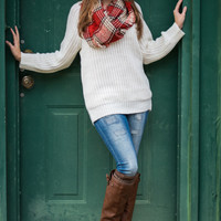 Sweetly Scalloped Sweater, Ivory
