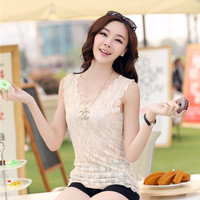 Scallop Floral Lace Short Sleeve Top