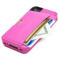 CM4 Q4-PINK Q Card Case Wallet for Apple iPhone 4/4S - 1 Pack - Retail Packaging - Pink