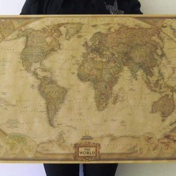 """Large Vintage Retro Paper World Map Poster 28"""" x 18"""" Children Gifts Wall Chart Decoration = 1946254084"""