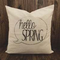 Hello Spring 16 x 16 Pillow Cover, houswarming gift, seaonal, easter, rabbit