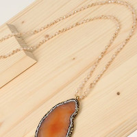 Beaded Agate Necklace with Crystal Accents, 2 colors