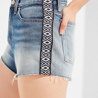 BDG Girlfriend High-Rise Distressed Denim Short – Taped Stripe | Urban Outfitters