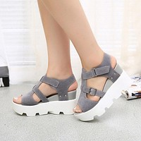 Wedge Sandals - Ankle Strap Velcro  Closure