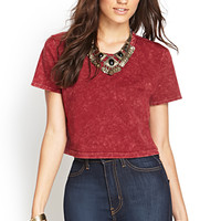 FOREVER 21 Boxy Mineral Wash Crop Top Rust Large