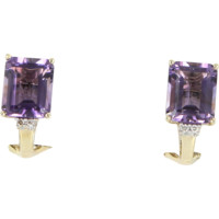 Emerald Cut Amethyst Diamond Shrimp Earrings Vintage 14 Karat Yellow Gold Estate