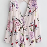 Casual Deep V-Neck Drawstring Back Hole Floral Printed Long Sleeve Romper