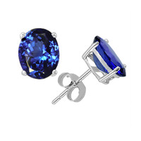 5x3 oval .25ct  tanzanite earrings in 14k white or yellow gold