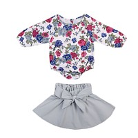 born Baby Girls Clothes Sets Long Sleeve Floral Clothes bow-knot Skirt Outfit Set Clothing Set Baby Girl 0-24M