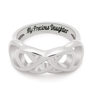 "Double Infinity Daughter Ring, Promise Ring ""My Precious Daughter"" Engraved on Inside Best Gift for Daughter"