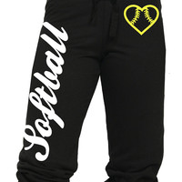 Activewear Apparel Softball Juniors Capri Sweat Pants with Heart Shaped Softball