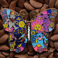 Grateful Dead Hat Pins Butterfly Bears Lighting Bolt Pin 2 1/3 Inch