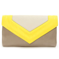 On My Side Taupe and Yellow Purse