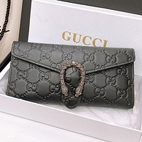 GUCCI New fashion more letter leather wallet purse handbag Black