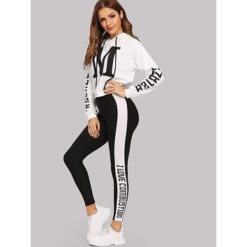 SHEIN Letter Graphic Hoodie and Leggings Set