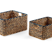 Woven Boxes, Natural/Navy, Set of 2, Storage Boxes & Bins