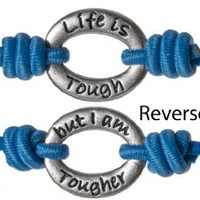 Life Is Tough But I am Tougher Inspirational Positive Energy Stretch Wrist Band by Jewelry Nexus