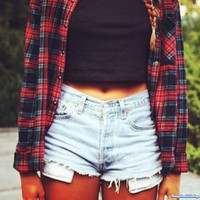 Mystery Hipster Outfit - High Waisted Shorts - Oversized Flannel Shirt & FREE GIFT - All Sizes